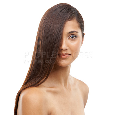 Buy stock photo Portrait of an attractive young woman with long and healthy hair