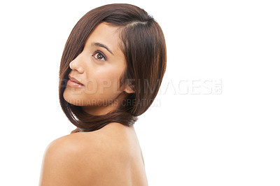 Buy stock photo A young woman with sleek hair in studio