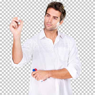 Buy stock photo A young man writing with a marker