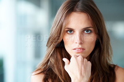 Buy stock photo Portrait of thoughtful young lady looking at you -