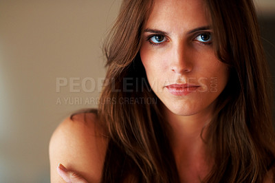 Buy stock photo Portrait of sensual young lady on brown background