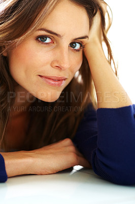Buy stock photo Beautiful young woman lying on floor and  looking