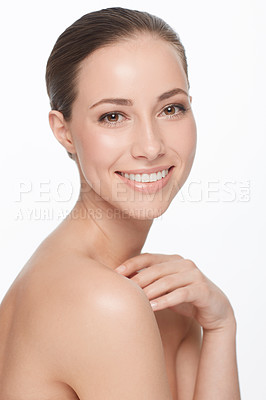 Buy stock photo A beautiful woman with bare shoulders smiling at the camera