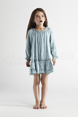 Buy stock photo Full-length studio shot of a little girl looking surprised