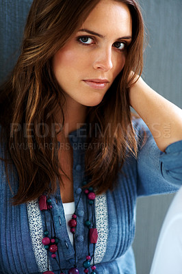 Buy stock photo Beautiful young fashion model posing