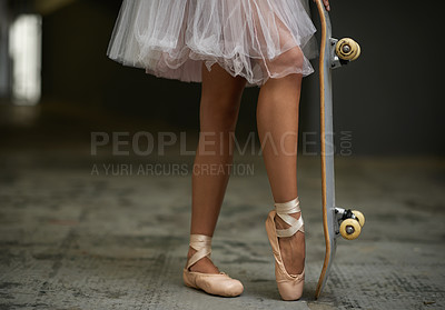 Buy stock photo A cropped image of a woman in ballet slippers on a skateboard