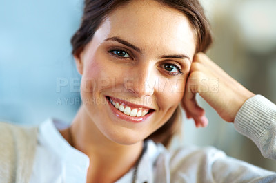 Buy stock photo Portrait of an attractive young female model smili