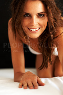 Buy stock photo Portrait of a happy young womn smiling