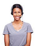 Beautiful female executive wearing headset and smiling