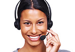 Smiling young call centre executive with a headset over white