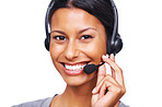 Young woman with headphones smiling at you against white