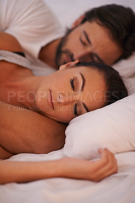 Buy stock photo A couple sleeping in their bed