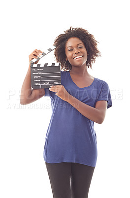 Buy stock photo A young woman against a white background