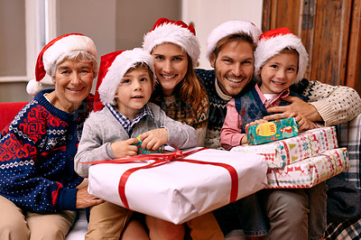 Buy stock photo Portrait of a family enjoying themselves at Christmas