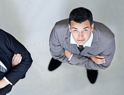 Buy stock photo High angle portrait of a confident looking businessman
