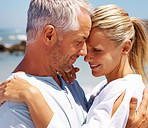 Romance: Closeup of a cute couple on a retirement vacation