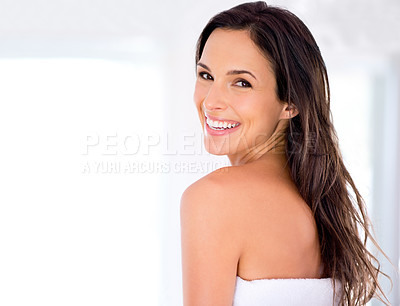 Buy stock photo Portrait of a beautiful woman with silky, brown hair