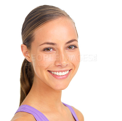 Buy stock photo Studio portrait of a sporty young woman giving you a toothy smile