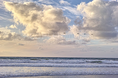 Buy stock photo The ocean and horizon with clouds overhead