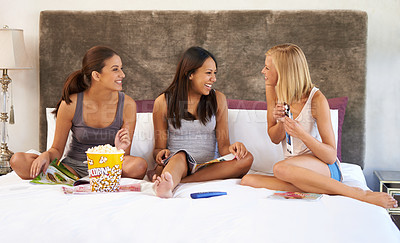 Buy stock photo Shot of a group of female friends having a ladies night in