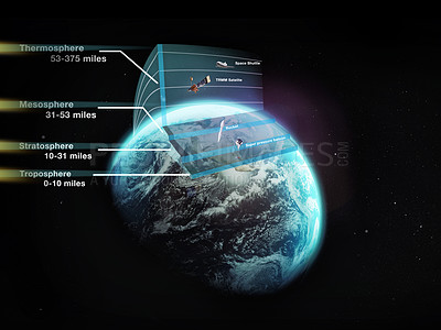 Buy stock photo Cross section of different layers of the earth's atmosphere - ALL design on this image is created from scratch by Yuri Arcurs'  team of professionals for this particular photo shoot