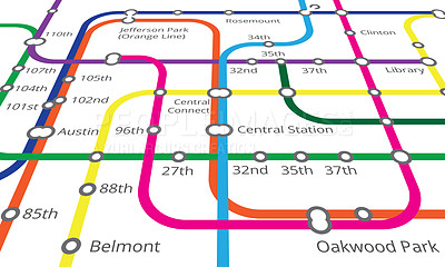 Buy stock photo Cropped view of a map of the underground railway lines