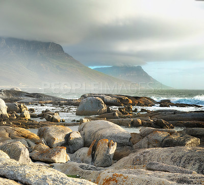 Buy stock photo A piece of coastline found etween Camps Bay and Clifton in Cape Town, South Africa