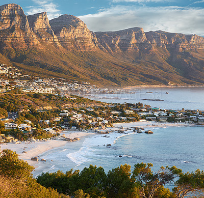 Buy stock photo A piece of coastline found between Camps Bay and Clifton in Cape Town, South Africa