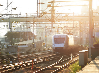 Buy stock photo A railway train moving through a station in Stockholm, Sweden
