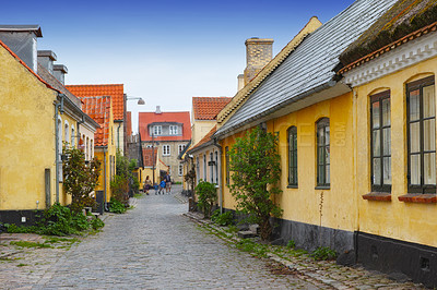 Buy stock photo A shot of some old houses (300-400 years) located in Dragoer,or Dragør, a historical city in  Denmark