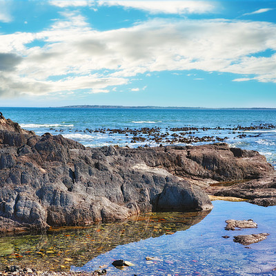 Buy stock photo A tidal pool along the coast of the Western Province, South Africa