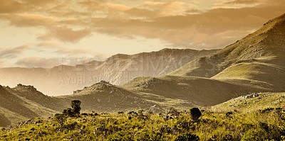 Buy stock photo A hilly mountainside in the Western Cape, South Africa
