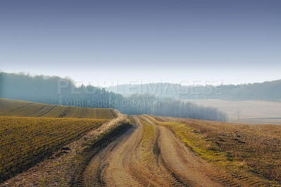 Buy stock photo Shot of a country road