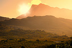 Sunrise over South African mountains