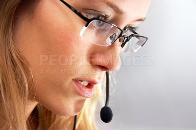 Buy stock photo Girl talking online.
