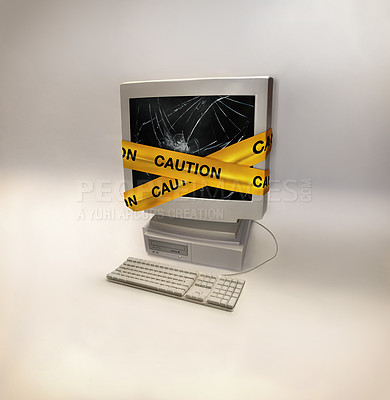 Buy stock photo Shot of a desktop computer infected with a virus- ALL design on this image is created from scratch by Yuri Arcurs'  team of professionals for this particular photo shoot