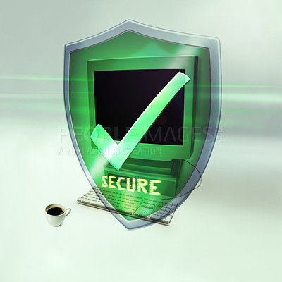 Buy stock photo Shot of a desktop computer with a secure message in front of it