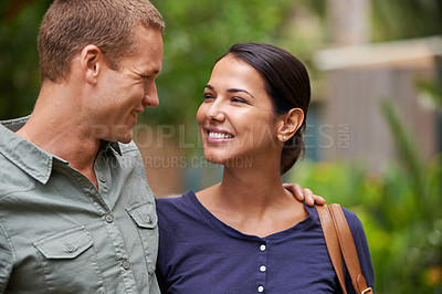 Buy stock photo Shot of a couple enjoying a day at the zoo