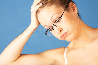 Buy stock photo Stressed out bothered girl.