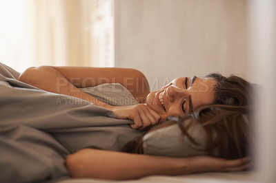 Buy stock photo Gorgeous brunette lying under the covers