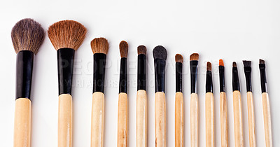Buy stock photo A set of make up brushes spread out against a white background