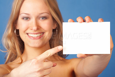 Buy stock photo Girl with notecard