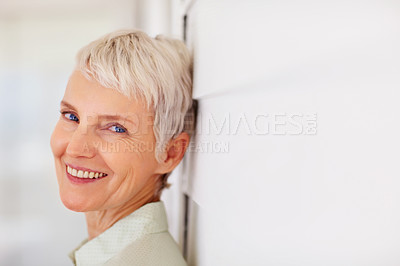 Buy stock photo Closeup portrait of a charming attractive old woman