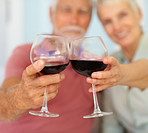Happy elderly couple celebrating with a glass of wine