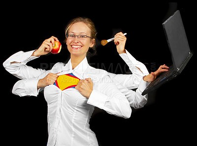 Buy stock photo Multitasking woman with multiple arms.
