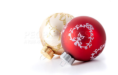 Buy stock photo Cropped studio shot of Christmas decorations