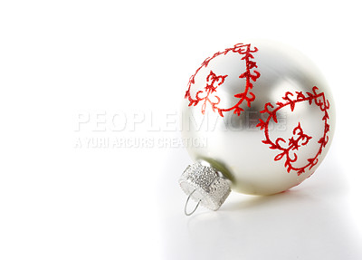 Buy stock photo Cropped studio shot of a silver Christmas bauble