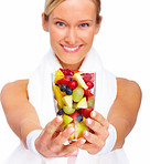 Healthy Life - Smiling blond offering health alternative
