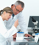 Scientists  analysing together in a lab