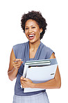 Happy young executive holding files standing on white